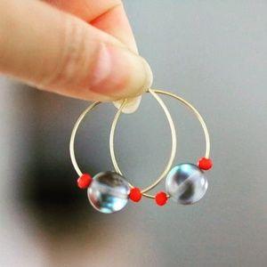 Jewelry - 3 for $15 dark stone loop earrings
